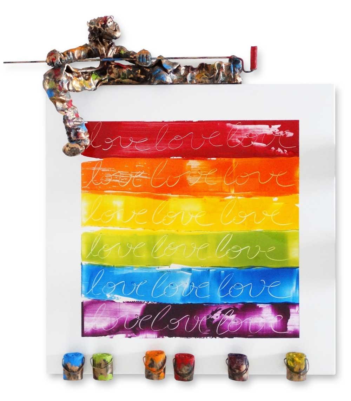 Bernard Saint Maxent - Rainbow love - 80x80cm