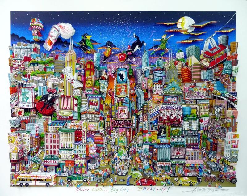 Charles Fazzino - Bright-lights, big-city, Broadway 110x130cm