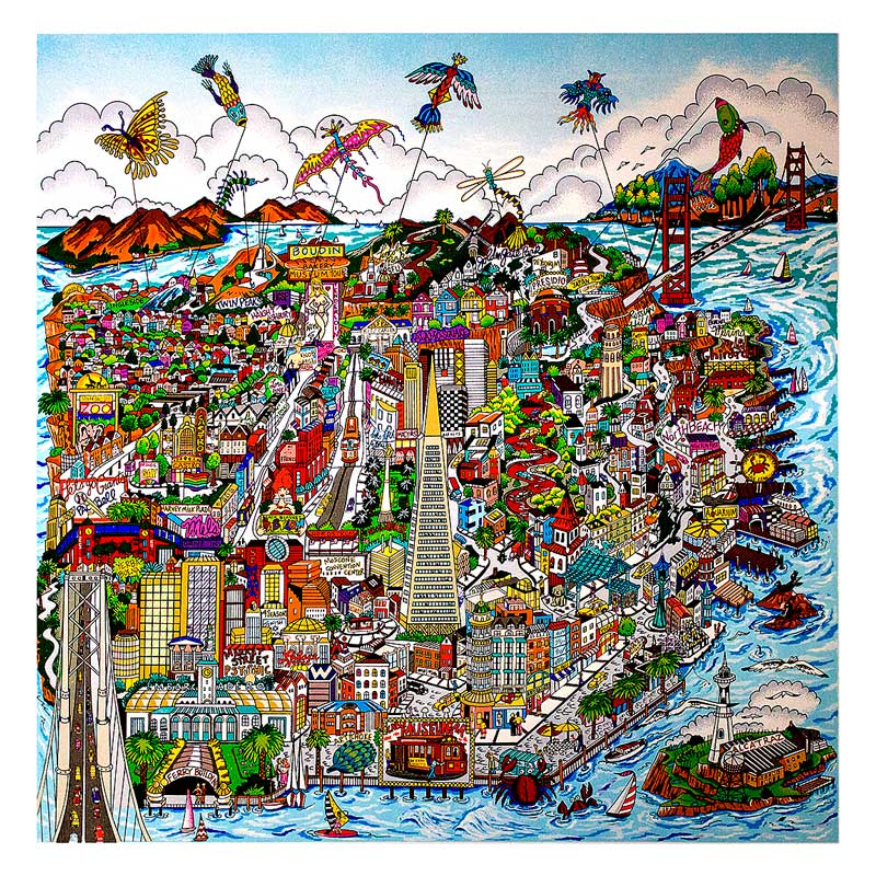 Charles Fazzino - Lets-Fly-a-Kite-San-Francisco---96x96cm