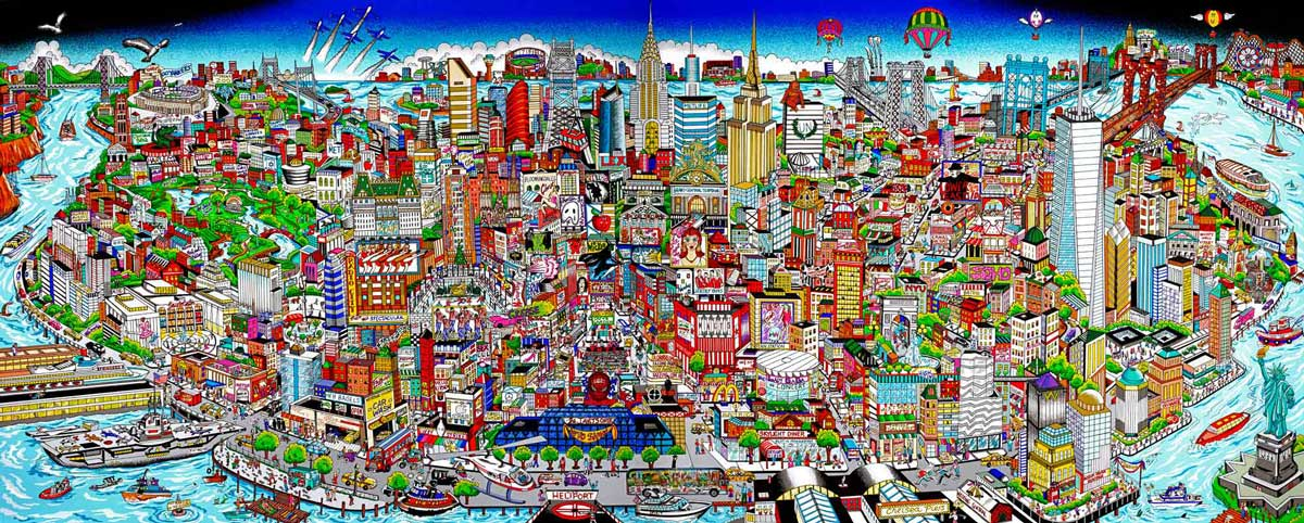Charles Fazzino - Manhattan-Mural--Island-of-Hopes-and-Dreams---103x205cm