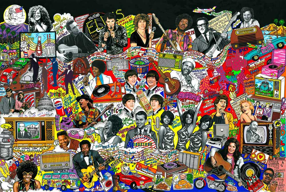 the vibrant and playful d pop art of charles fazzino charles fazzino rockin the 1960s 83x107cm