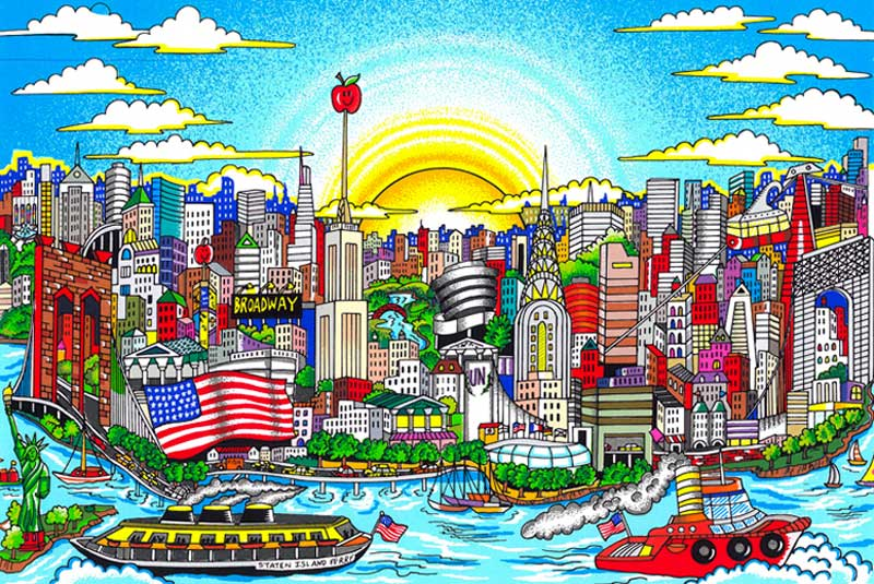 Charles Fazzino - The-sun-shines-again-on-Manhattan---52x63cm