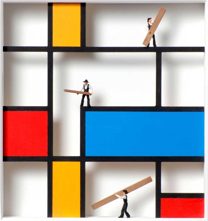 Volker Kühn - hommage à Piet Mondrian - work-in-progress - Art in Boxes