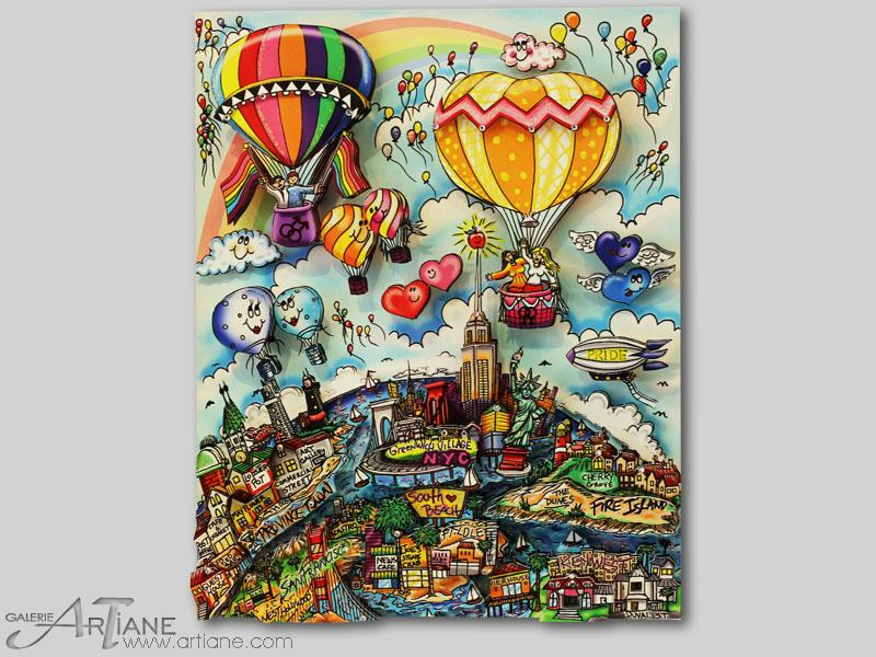 Charles Fazzino - Balloons and rainbowz of many colors