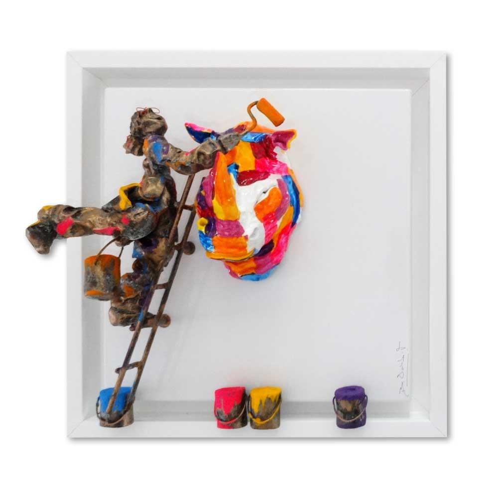 Bernard Saint Maxent - Rainbow Rhino - 40x40cm